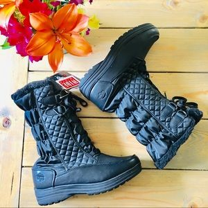 Totes Donna Black Waterproof Boots 10 Wide